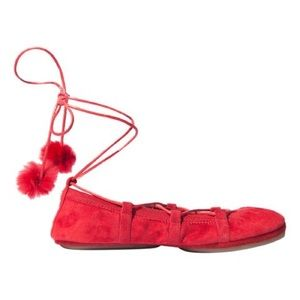 Red Suede Lace Up Pom Pom Ballet Flats